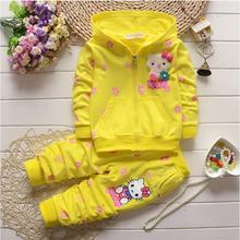 Spring Autumn Baby Girls Clothes Set Hello Kitty Kid Clothing Set Casual Sport Hoodied Suit Children Cardigan Sweaters+Pant Set