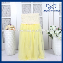 CH019D New 2017 wedding high back puffy yellow tutu tulle chair cover