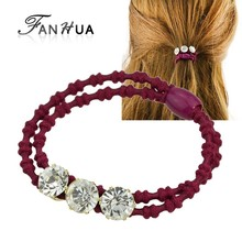 FANHUA   Fashion Hair Accessories Different Color Elastic Rope Rhinestone Headbands Headwear Accessories Women