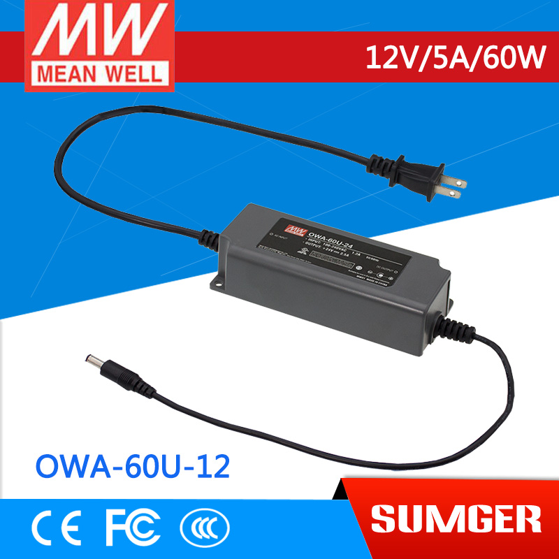 1MEAN WELL original OWA-60U-12 12V 5A meanwell OWA-60U 12V 60W Single Output Moistureproof Adaptor<br>