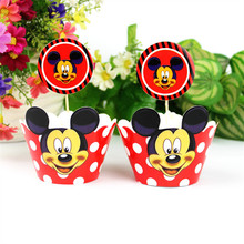 Minnie Mouse Party Cake Accessory 12 pcs Toppers +12 pcs Wrappers Cupcake Decoration For Kids Cartoon Birthday Party Supplies