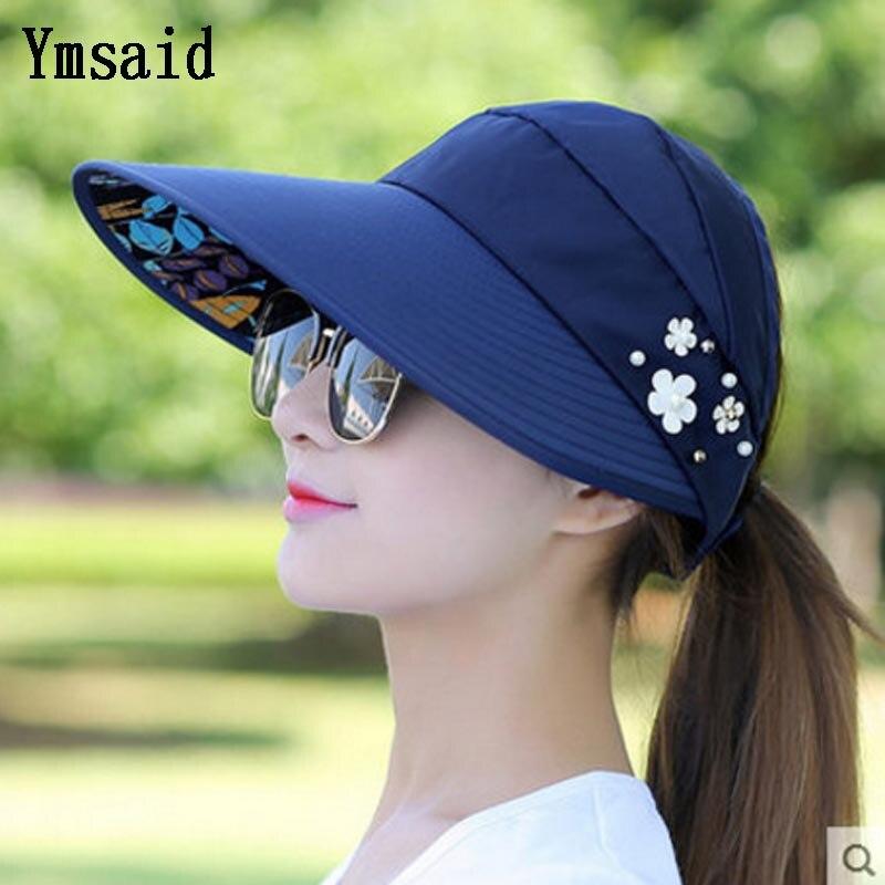 2018 Mujeres UV Protección Solar Sombrero de visera de ala ancha con tapa gorro
