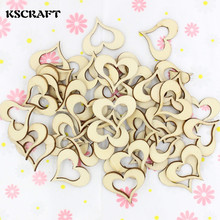 KSCRAFT 50pcs Wooden Heart Buttons for Rustic Wedding Party Festival Event Table Decorations Wedding Confetti