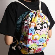 5% tsum Mickey Minnie Diagonal canvas tote bag big bucket burden casual everyday bags  Backpacks 20150727 WJ01
