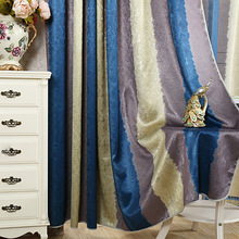 Luxury European Duolaimi curtain  colorful striped printing modern minimalist window curtains for bedroom and living room