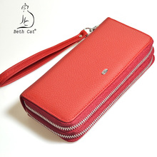 Buy Beth cat Genuine Leather Women Wallet Double Zipper Long Wallets Soft Cow Leather Lady Money Purse Clutch Coin Pocket for $16.73 in AliExpress store
