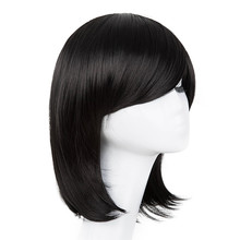 Carnival Wig Fei-Show Synthetic Heat Resistant Inclined Bangs Hair Short Black Wavy Halloween Hair Costume Cos-play Hairpiece(China)