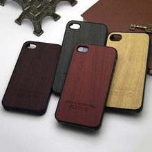 for iphone 4s case wood leather sticker with hard PC cover coque case for iphone 4 4s classical Vintage Retro Style capa funda(China)