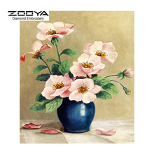 3D DIY Diamond Painting Cross Stitch Pink Purple  Flower Crystal Needlework Diamond Embroidery Floral Vase Home Decorative BJ615