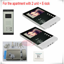 New Apartments 2 Units Wired Video Door Phone Audio door bell Entry Intercom System 2V2 Free shipping 2 years warranty+E-lock