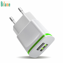 Briame LED 2 USB Charger EU Plug USB Adapter Mobile Phone Wall Charger For IPhone 5 5S 6 7 IPad Tablet Samsung Huawei Charging