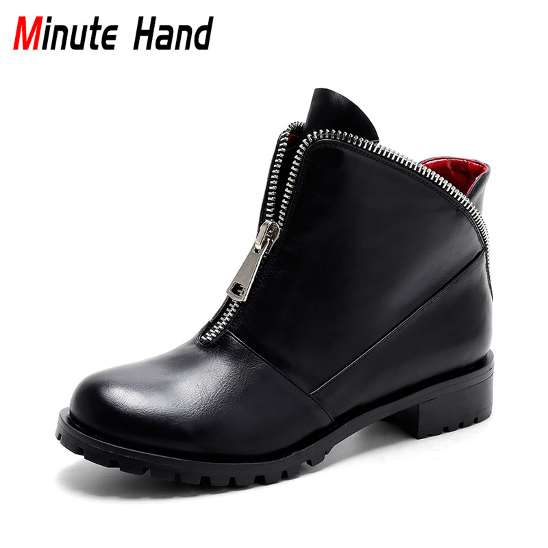 Minute Hand New Fashion Black Ankle Boots For Women Winter Warm Shoes Square Low Heel Ladies Booties Front Zipper Autumn Shoes<br>