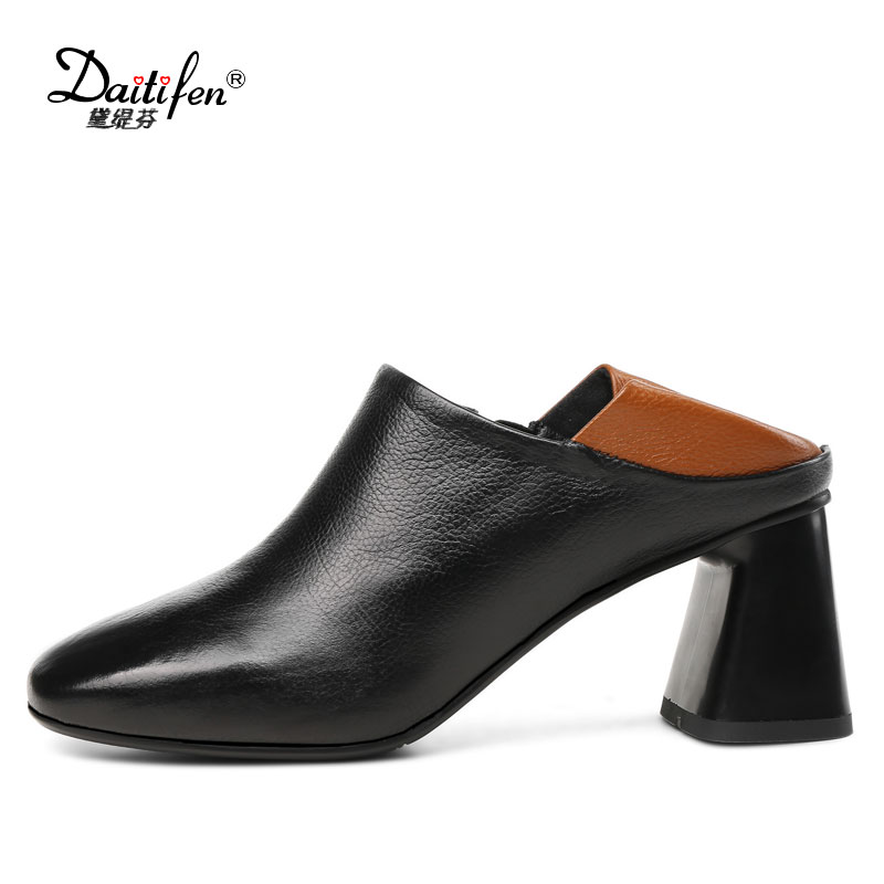 Daitifen Genuine Leather women pump shoes Neutral Mix color high Thick heels Stylish Zipper Round toe lady Dress shoes Big size<br>