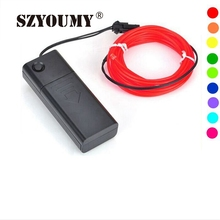 SZYOUMY 3V Battery 2M 2.3mm EL Wire Tube rope Battery Powered 10 colors Flexible Neon Light Car Interior Atomsphere Decoration