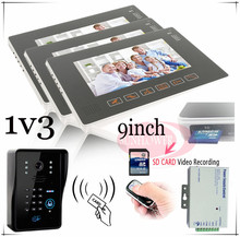 "1v3 Home security video door phones 9"" Lcd Video Ir Camera Recording & Photo Taking support RFID CARDS/keyboard unlock  door"