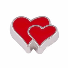 HOT Sell double heart charms,fashionable floating charms,Valentines Day charms(China)