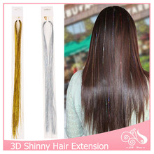 10pcs/lot Clip In Hair Extensions 16Inch BellaVia Tinsel Hair Extension Bling String 3D Rainbow No Trace 1 Clip Hairpiece