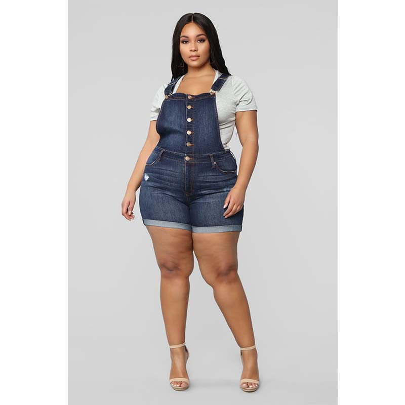 Women Plus Size Blue Strap Jeans Shorts Pockets Button Hole Skinny Short Denim Overalls Bib Short Jeans For Ladies Summer L-4XL