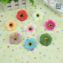 20pcs/lot 5Cm Mini Silk Cherry Blossoms Small Artificial  Rose Flowers Heads Poppy Wreath Wedding Decoration For Scrapbooking