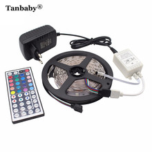 Tanbaby 5M 150LEDs SMD 5050 DC12V LED Flexible Strip Light + 44Key IR Remote Controller(Only for RGB) +12V 2A Power Adapter Tap