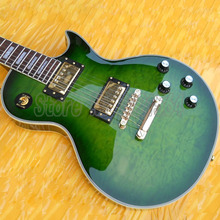 China  Guitars   LP Rosewood Fingerboard  Rectangled  Inlay Green  Quilted Maple Top  6 strings  Free Shipping