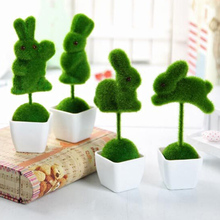 4pcs/lot small cute animals toy decorations animal grass land Reduce the eye fatigue decor ove Heart Star Artificial grass Turf