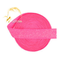 "GOYIBA 3 Yard 5/8"" 1.5cm Neon Pink Metallic Glitter Elastics Spandex Band Lace Trims Headband Hair Tie Tutu Dress Sewing Notions"