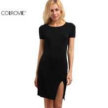 COLROVIE Ladies Work Wear Bodycon Mini Dresses Black Short Sleeve Round Neck Split Side Sheath Above Knee Dress