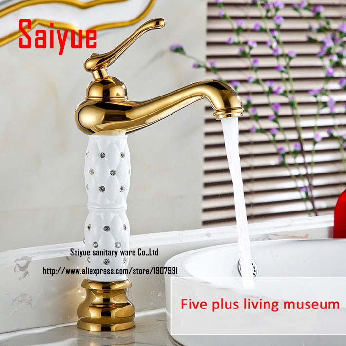 Bathroom Countertop Sink Faucet Gold and white Brass Single Handle Basin Mixer Tap with ceramic pineapple body with diamond<br><br>Aliexpress