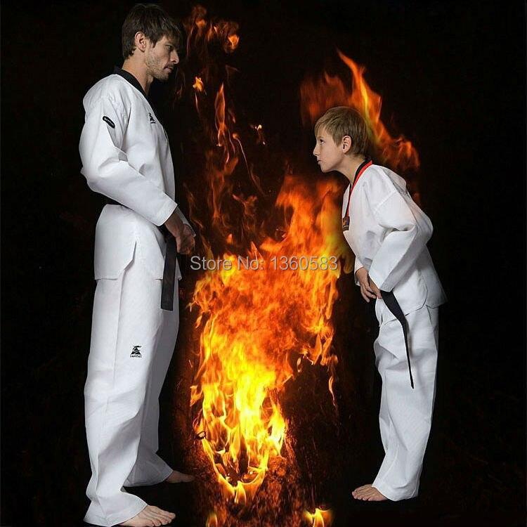 Таэквондо высокое качество ребенок взрослый тхэквондо единая белый хлопка с длинным рукавом dobok тхэквондо итф тхэквондо костюм 110 - 190 см(China)