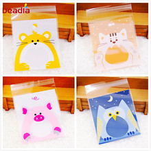 100 pcs Cute Candy Animals Cake Cookies Biscuits Packing Bags Self Adhesive Plastic Gift Bags Birthday Party Snack Baking