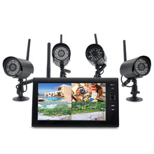 "2.4G 4CH QUAD DVR Security CCTV Camera System Digital Wireless Kit Baby Monitor 7"" TFT LCD Monitor+ 4 Cameras(China)"