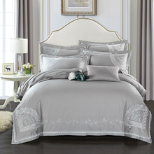 2017 Wholesale lace Bedding Set 4 Pcs gray King Queen Size Egyptian cotton Embroidered Quality Bed Linen Sets