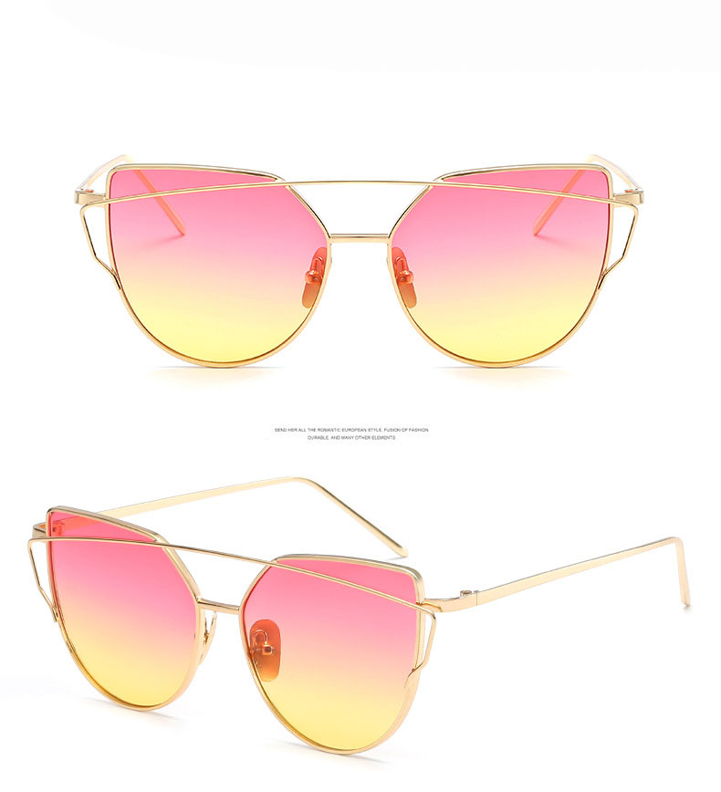 2017 Brand Retro Cat Eye Sunglasses Women Vintage Fashion Rose Gold Mirror Eye Glasses Unique Flat Ladies Eyewear Oculos UV400 30