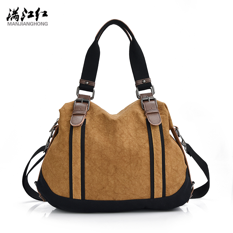 Fashion Tie-dyed Canvas Women Bag Khaki&amp;Watermeon Red 2 Colors Canvas Bag with a Long Shoulder Strap Womans Shoulder Bag 1367<br>