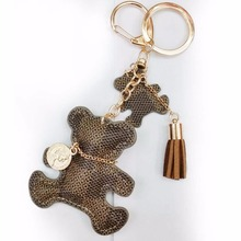 Leather Cute Bear Tassel Style Purse Handbag Key Phone Chain Keyring Gift Coffee