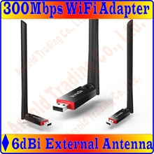 Tenda 300Mbps Utral-Fast Wireless N USB Adapter Network Adaptor with one external 6dBi antenna, Supports soft AP, FreeShip Prom-(China)