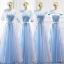 Buy MNZ8098B#half sleeve embroidery lace spring 2017 new party prom bride wedding toast dress long Sky Blue wedding dresses for $39.90 in AliExpress store