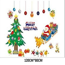 Merry Christmas Wall Decals Santa Claus Xmas Tree Wall Stickers PVC Romovable Home Christmas Decoration wall art