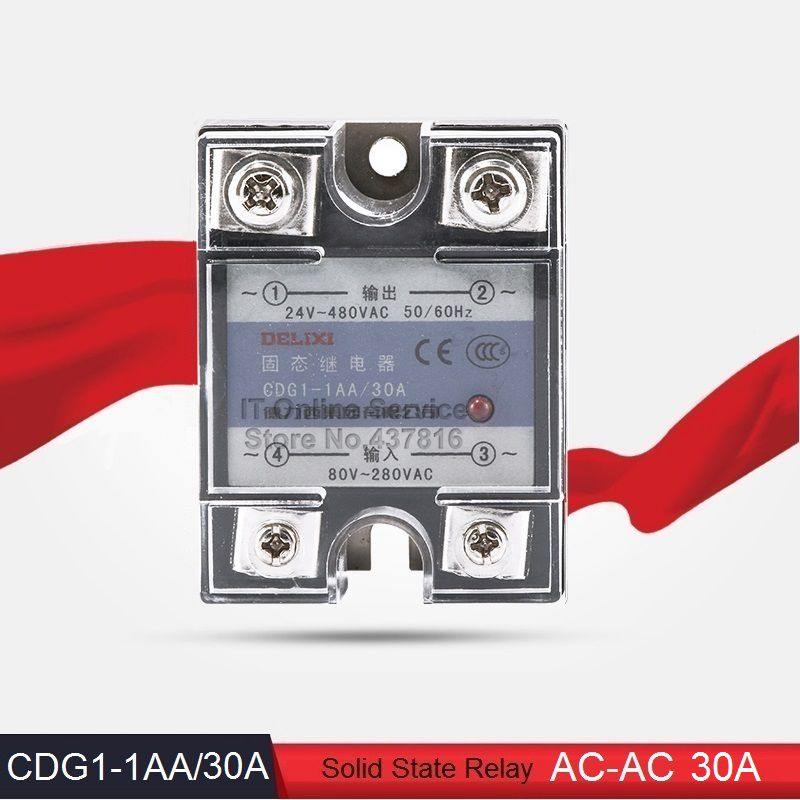 High Quality AC-AC 30A Solid State Relay 30A Single Phase SSR  Input 80-280VAC Output 24-480VAC (CDG1-1AA/30A)<br><br>Aliexpress