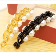 Pearls Hairpins Hair Jewelry Banana Clips Headwear Hairgrips Hairclips for Women Summer Hair accessory Orange & Black