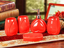 Ceramic bathroom set 5 pieces set bathroom supplies red heart wedding gifts eco-friendly bothroom kits bathroom decoration