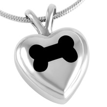 IJD8063 Pet Funeral Jewelry Black Dog Bone On My Heart Stainless Steel Cremation Memorial Urn Pendant jewellery to hold ashes