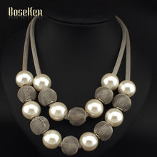 Boho Fashion Popcorn Chain Simulated Pearl Metal Ball Women Chokers Statement Jewelry Accessories Pendants Necklaces #3215