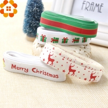 New!5M/Lot 19MM Christmas Ribbon For Decoration Printing Grosgrain&Satin Ribbon DIY Craft Gifts Christmas Party Decorations