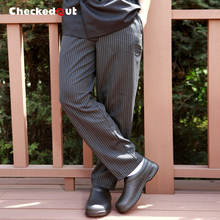 Top quality Work pants checkedout trousers cook pants Grey Grid chef pants