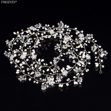 150cm Handmade Pearl Crystal Bridal Headdress FORSEVEN Trendy Wedding Hair Accessories Women Long Headbands tiara E161223-48(China)