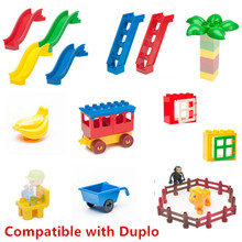 Big Building Blocks Accessory Bricks Doll Figures Window Leaf Coach Cart Slide Ladder Plate Compatible with Duple Baby Toys