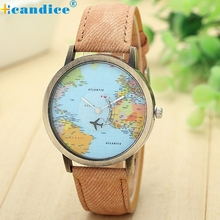 Splendid Luxury Brand Relojes Map Women Dress Watch Denim Fabric Band Global By Plane Wristwatches Men Clocks Masculino Reloje