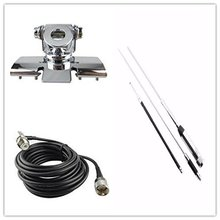 Quad band Antenna Set for Mobile Radio with Clip Mount +Huahong HH-9000 Antenn +5M Cable For Car Radio TYT TH-9800 QYT KT7900D(China)